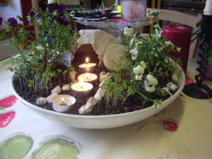 Our Easter tomb garden on Easter morning